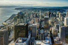 Sunset View from Sky View Observatory over Seattle with Space Ne Royalty Free Stock Photo