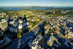 Sunset View from Sky View Observatory over Seattle with Space Ne Stock Photography