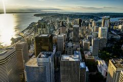 Sunset View from Sky View Observatory over Seattle with Space Ne Royalty Free Stock Photos