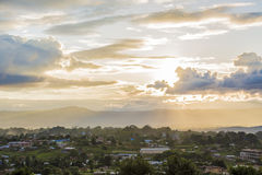 Sunset view in small village at Taunggyi Stock Image