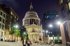 Sunset view of St. Paul Cathedral in London, Great Britain stock images