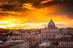 Sunset view at St. Peter's cathedral in Rome, Italy Royalty Free Stock Photos