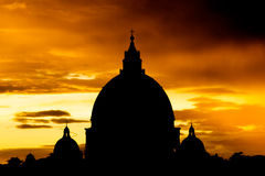 Sunset view at St. Peter's cathedral in Rome, Italy Stock Photography