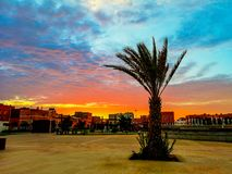 Sunset view. From a public place in Laayoune city, Morocco royalty free stock photos