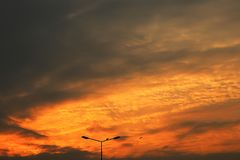 Sunset View. And red clouds Royalty Free Stock Photography