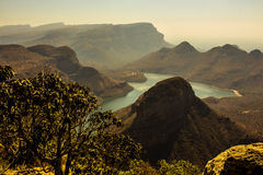 Sunset view of Three Rondavels, Blyde Canyon, South Africa. Royalty Free Stock Photo