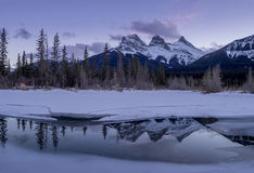 Sunset view of the Three Sisters royalty free stock photos