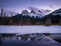 Sunset view of the Three Sisters Stock Photography