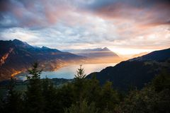 Sunset view of Thun lake in Interlaken from Harder Kulm observat Royalty Free Stock Photos