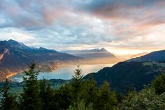 Sunset view of Thun lake in Interlaken from Harder Kulm observat Stock Images