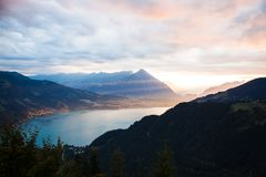 Sunset view of Thun lake in Interlaken from Harder Kulm observat Stock Image
