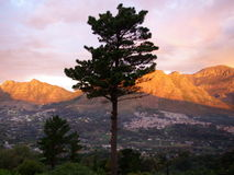 African landscapes. Sunset view to the back of the table mountain in South Africa Stock Image