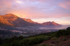 African landscapes. Sunset view to the back of the table mountain in South Africa Stock Images