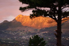 African landscapes. Sunset view to the back of the table mountain in South Africa Stock Photography