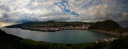 Sunset view to Horta, Porto Pim Bay and beach from mount Guia, Faial island, Azores, Portugal Royalty Free Stock Photography