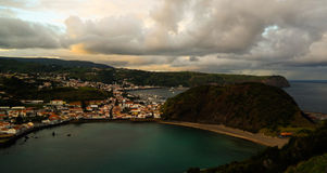 Sunset view to Horta, Porto Pim Bay and beach from mount Guia, Faial island, Azores, Portugal Stock Image