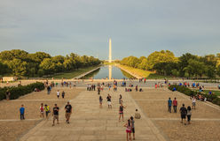Sunset view to the National World War II Memorial in Washington DC royalty free stock image