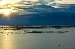 Sunset view of Tonle Sap royalty free stock photography