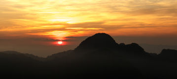 Sunset. The view of the sunset at the top of Doi Angkhang, Thailand Stock Photo