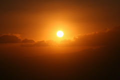 Sunset view. From top of a mountain Royalty Free Stock Image