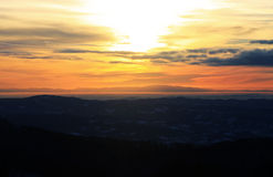 Sunset view from the top of a mountain Royalty Free Stock Photo