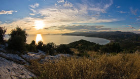 Sunset view at Toroni bay, aerial photo from the top of a hill, Sithonia Stock Images