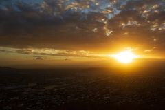 Sunset view of Townsville, Queensland, Australia looking from Castle Hill towards the coast and calm sea royalty free stock image