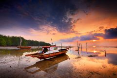 Sunset View Traditional Boats Batam Island Wonderfull Indonesia royalty free stock image