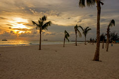 Sunset view from a tranquil beach in on the west coast of Barbados Royalty Free Stock Image