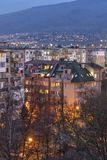 Sunset view of Typical residential building from the communist period in city of Sofia, Bulgaria stock photos