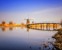 Sunset view at typical windmill at Kinderdijk, Holland. Stock Image