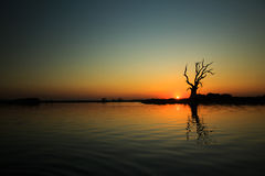 Sunset. View from the U-Bein bridge,Myanmar.Photo taken in Dec 2014 royalty free stock images