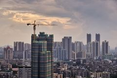 Sunset view of under construction building and many high-end enterprises such as finance, insurance, real estate, Guangzhou city,