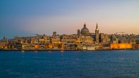 Sunset view of Valletta, the capital of Malta.  Royalty Free Stock Image