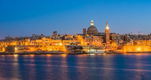 Sunset view of Valletta, the capital of Malta.  Royalty Free Stock Images