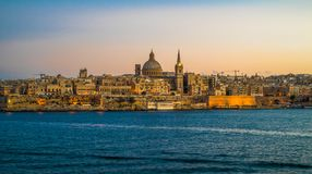 Sunset view of Valletta, the capital of Malta.  Stock Images