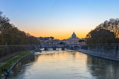 Sunset view of Vatican city state in Rome, Italy Royalty Free Stock Photos