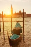 Sunset view of Venice with gondola Stock Photos