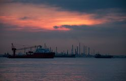 Sunset view  of Vessels on road. Singapore strait. Royalty Free Stock Photography