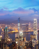 Sunset view of Victoria Harbor, Hong Kong, China Royalty Free Stock Images