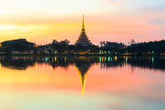 Sunset view of Wat Nong Wang Temple Royalty Free Stock Image