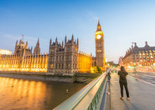 Sunset view of Westminster Bridge and Palace, London Royalty Free Stock Photo