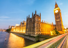 Sunset view of Westminster Bridge and Palace, London Stock Photo