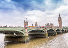 Sunset view of Westminster Bridge and Palace, London Stock Photography