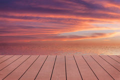 Sunset. View from wooden pier. Stock Photos