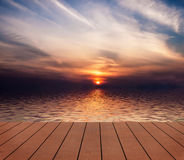 Sunset. View from wooden pier. Royalty Free Stock Photos