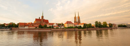 Sunset view of the WrocÅ'aw in Poland. Sunset view of the Wrocław in Poland / city panorama royalty free stock photography