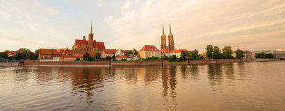 Sunset view of the WrocÅ'aw in Poland. Sunset view of the Wrocław in Poland / city panorama stock image