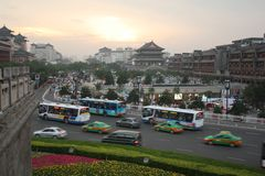 Sunset view of Xian, China Royalty Free Stock Photo