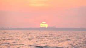 Sunset view from the yacht. In the Black Sea stock video footage